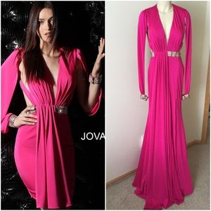 Hot Pink Plunging Neckline Open Back Gown NM61684